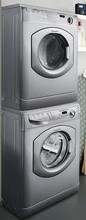 Ariston ARWL129SNA 24in Washer and Electric Dryer AS65VXSNA Stackable Laundry Pair, Platinum