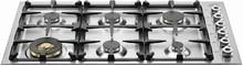Bertazzoni Professional Series QB36600X 36in gas cooktop 6 sealed brass burners