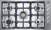 Bertazzoni Professional Series QB36500X 36in pro-style low profile gas cooktop 5 sealed brass burners