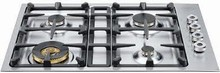 Bertazzoni Professional Series QB30400X 30in Low-Profile Gas Cooktop 4 sealed brass burners