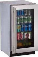 U-Line 3018RGLS-00 3000 Series 18in Undercounter Glass Door All Refrigerator 3.6 cu. ft. Single Zone Convection Cooling