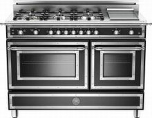 Bertazzoni Heritage series HER486GGASNE 48in gas range 6 sealed brass burners
