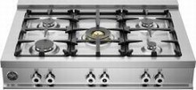 Bertazzoni Professional Series CB36500X 36in Pro-Style Gas Rangetop 5 sealed brass burners
