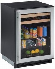U Line 1175BEVSS-00 1000 Series 24in Beverage Center 5.6 Cu. Ft. 65 Cans and 16 Wine Bottles with Dual Cooling Zones