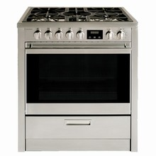 Porter & Charles FEG76B 30in slide-in dual fuel convection range 3.8 cu. ft. with five sealed burners