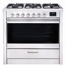 Porter & Charles FEG90B 36in slide-in dual fuel convection range 4.3 cu. ft. with five sealed burners