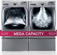 LG WM8000HVA 29in Jumbo Wash Steam Washer 6.0 cu. ft. with Heater, DLGX8001V GAS Steam Dryer 9.0 cu. ft.