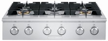 Electrolux ICON E36GC76PPS 36in Pro-Style Slide-In Gas Cooktop with 2x20,000 BTU Dual-Ring Sealed Burner