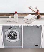 Ariston ARWF149SNA 24in Washer and Ariston ASL75CXSNA 24in Ventless Electric Dryer, Platinum
