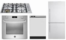 Bertazzoni F30PROXV 30in wall oven, QB30400X gas cooktop, Blomberg DWT24100SS, BRFB1812SS