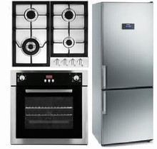 Fagor BMF200X 24in CD Bottom Freezer Refrigerator, FA640STX Gas Cooktop, 6HA196BX wall oven
