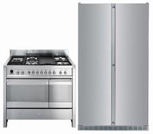 Liebherr SBS243 48in supercool 5 Temp. Zones Refrigerator & Smeg A3XU6 48in Duel Fuel Range