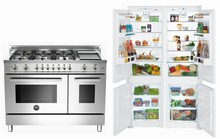 Liebherr 48in side by side  Refrigerator, Bertazzoni PRO486GDFSX 48in Duel Fuel Range
