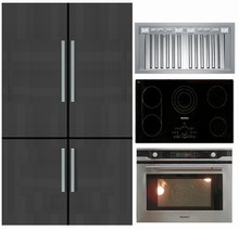 Blomberg 44in Panel Ready Fridge/Freezer, CTE36500 36in Cooktop, Bertazzoni KIN36PROX 36in Insert